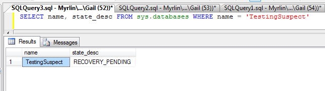 Does a missing data file send a database suspect? | SQL in